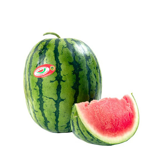 Anguria Reggiana PGI Round watermelon, kind Ashai Miyako. Pic of watermelon with slice