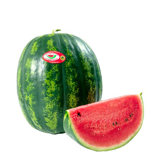 Anguria Reggiana PGI Oval watermelon, kind Crimson. Pic of watermelon with slice