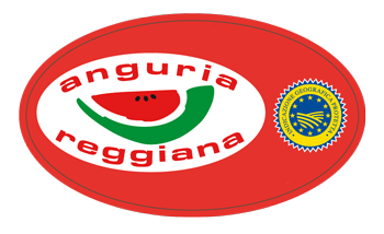 The sticker with Anguria Reggiana IGP watermelon trade mark