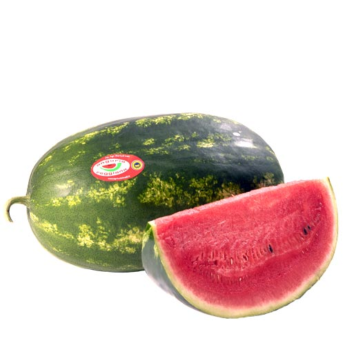 Anguria Reggiana PGI Elongated watermelon, kind Sentinel. Pic of watermelon with slice