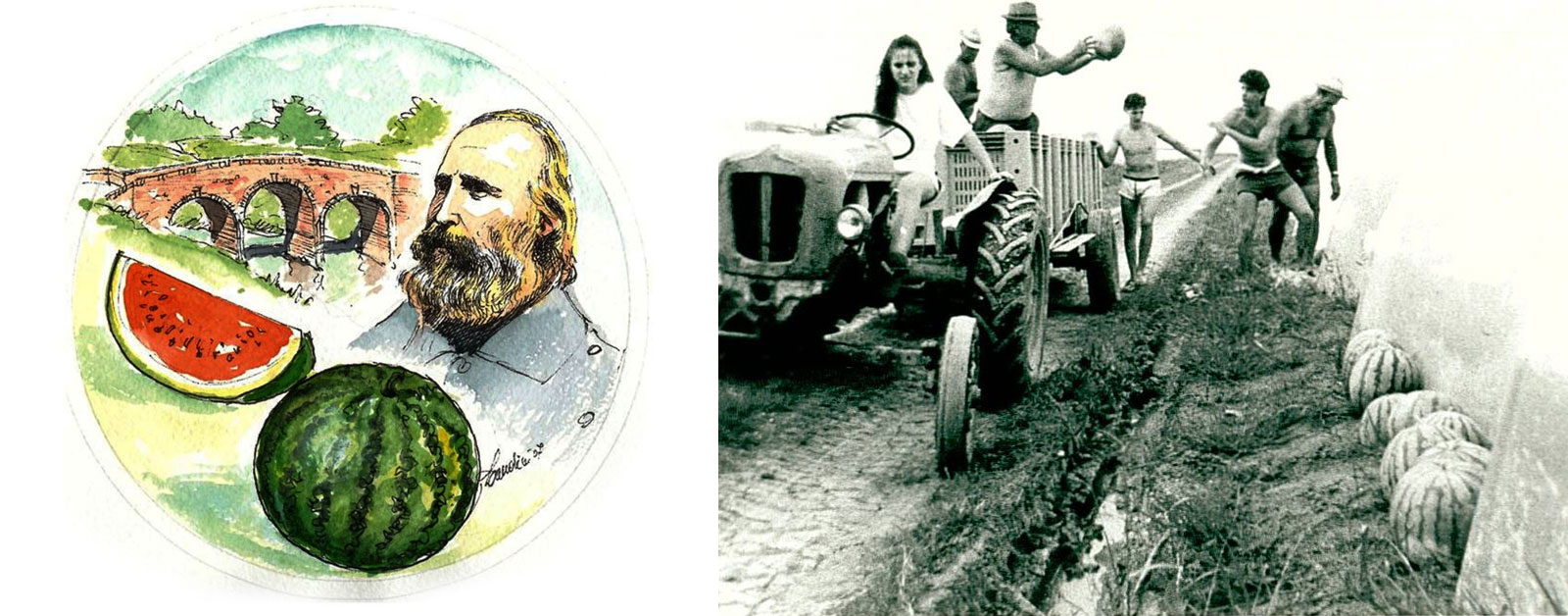 Historical photos. Garibaldi with Watermelon - Family of growers who collect watermelons in the 70's